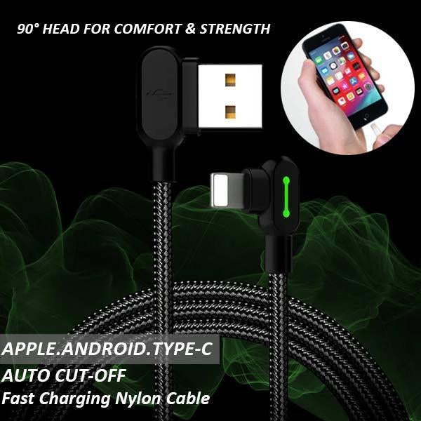 90° Head Auto Cut-off Fast Charging Nylon Cable