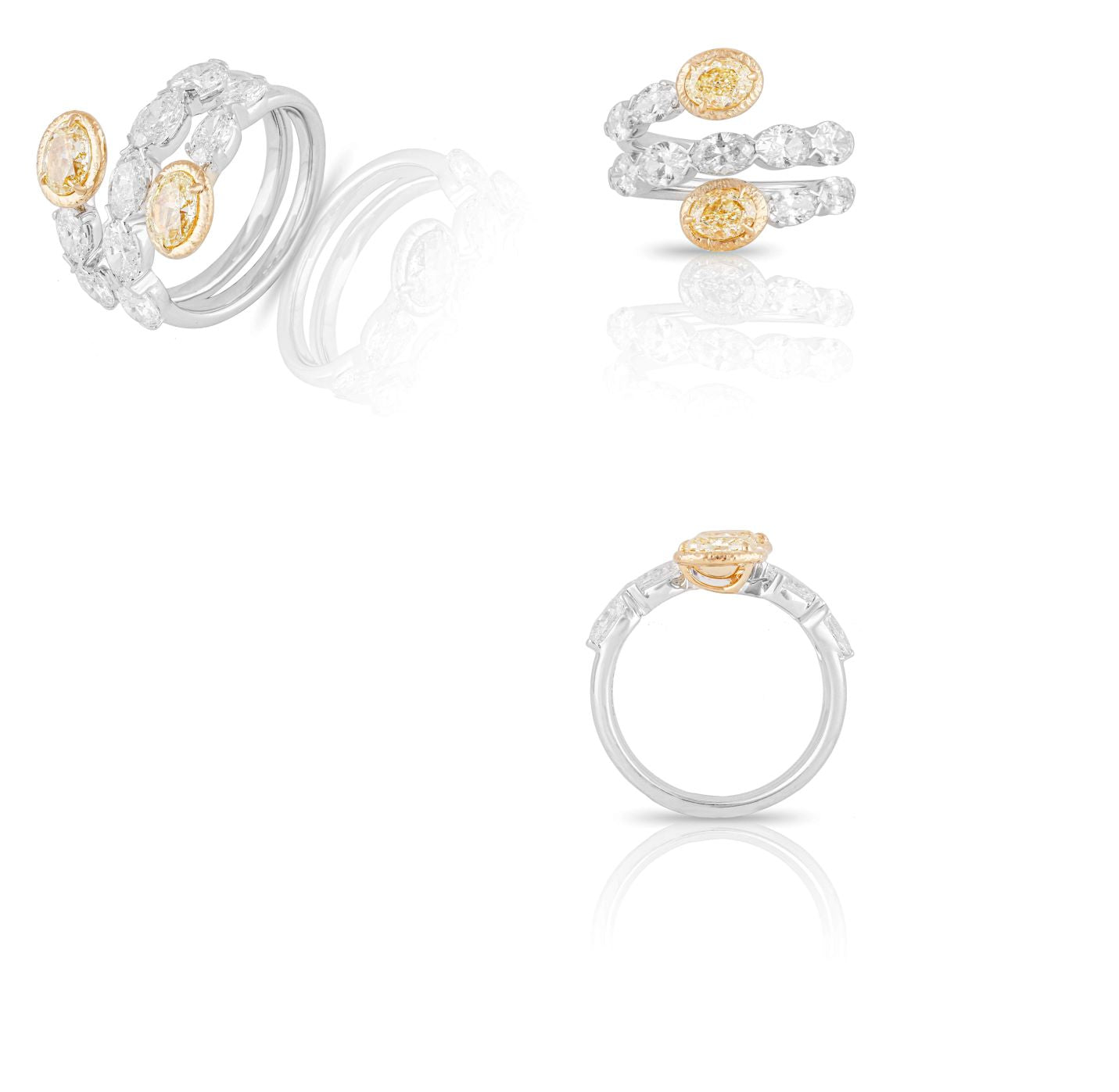 Kamyen Yellow Oval Curl Ring