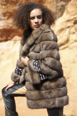 Samuele Cipriani Sable Coat with mink in laid sleeves