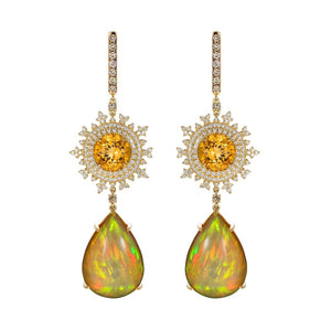 Tsarina Sun Flake & Opal Earrings