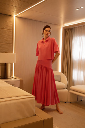 Silk Margherita Polo and Gabri Skirt Set