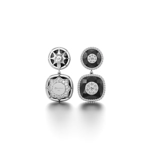 Drop Earrings with Diamond Halo - Black Onyx