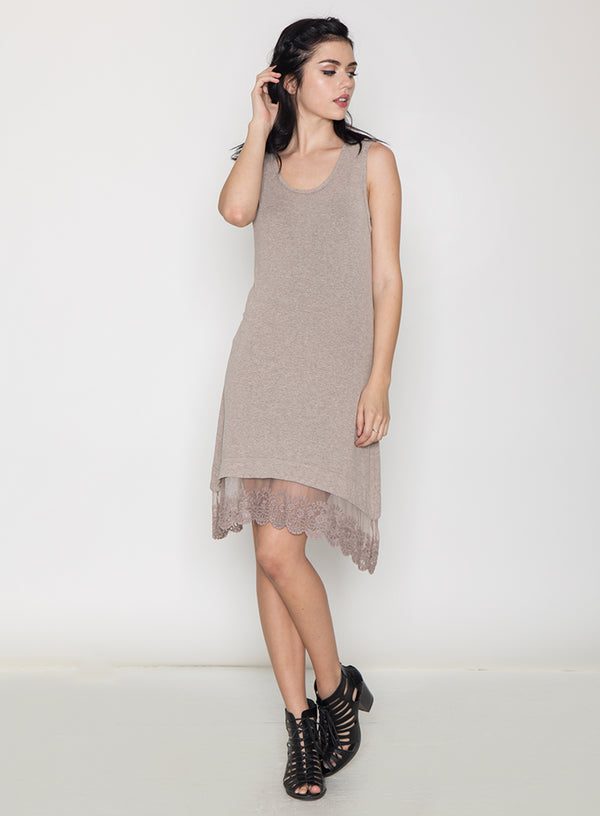LAYERED LACE HEM TANK DRESS