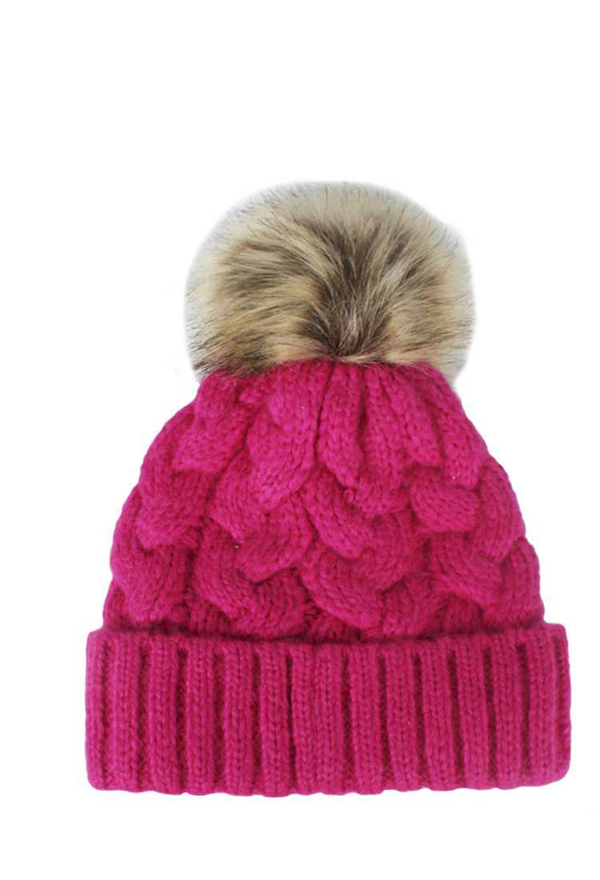 SOFT TWIRL LINED DESIGN WITH POM POM BEANIE