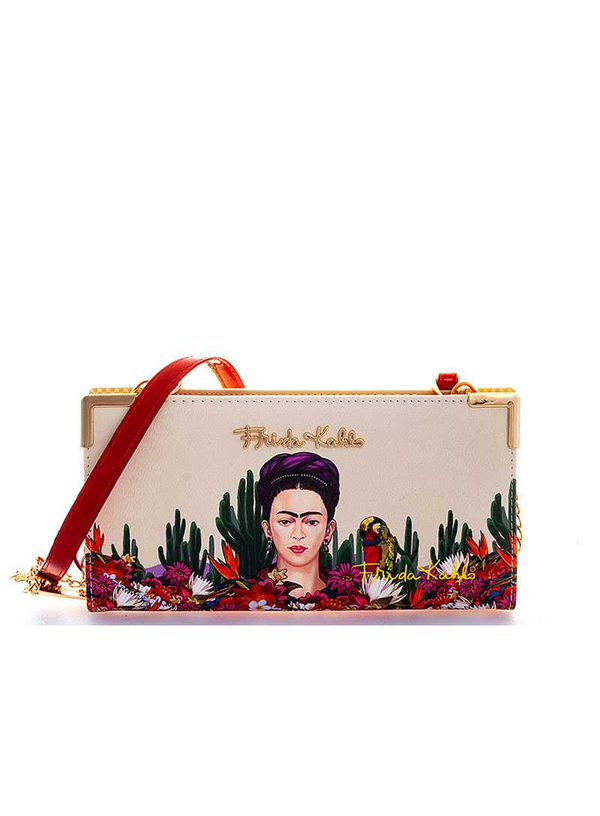 FRIDA KAHLO GENUINE CACTUS SERIES CROSSBODY WALLET WITH LONG STRAP