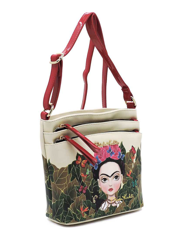 FRIDA KAHLO MODERN FLOWER MULTI COMPARTMENT CROSSBODY BAG