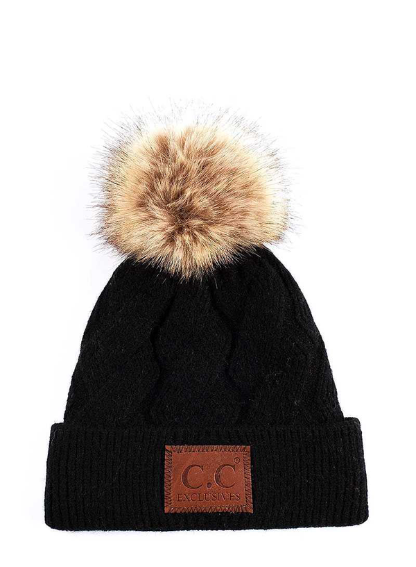 CC GEOMETRIC CABLE BEANIE HAT WITH POM