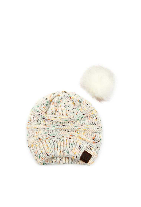 KNITTED BEANIE WITH FAUX FUR POM POM