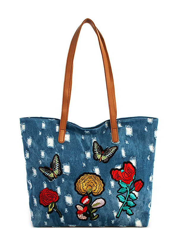 FASHION FLOWER AND BUTTERFLY PATCHED WASHING DENIM SHOPPER BAG