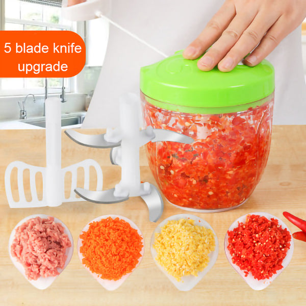 900ML Powerful Meat Grinder Hand-power Food Chopper Mincer Mixer Blender to Chop Meat Fruit Vegetable Nuts Herbs - liprahome