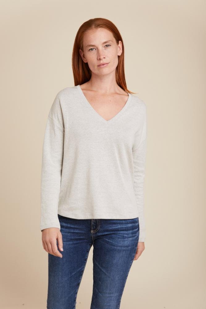 COTTON CASHMERE DOUBLE FACE RELAXED L/S V-NECK - MAJESTIC FILATURES