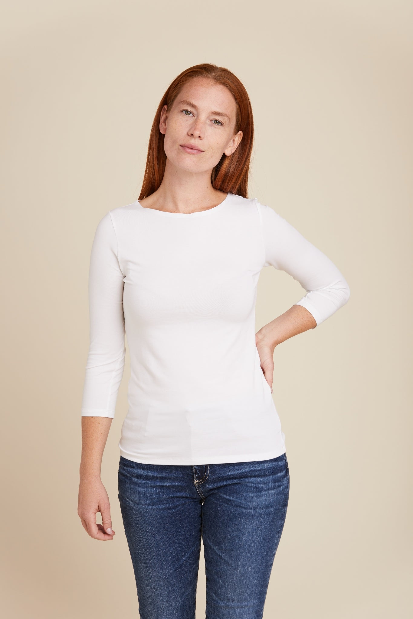 SOFT TOUCH LASER CUT 3/4 SLEEVE BOATNECK - MAJESTIC FILATURES