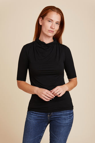 SOFT TOUCH ELBOW SLEEVE MOCK NECK WITH DRAPE - MAJESTIC FILATURES