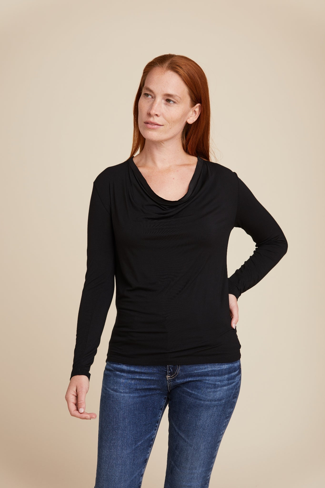 SOFT TOUCH L/S WITH DRAPE FRONT - MAJESTIC FILATURES