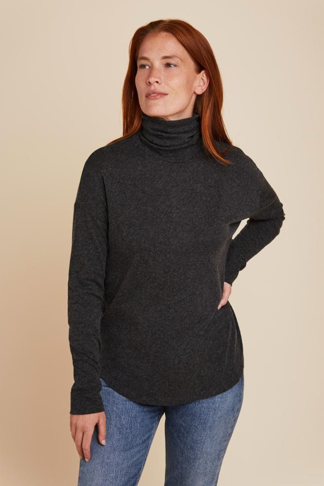 COTTON/CASHMERE SEMI RELAXED L/S TURTLENECK - MAJESTIC FILATURES