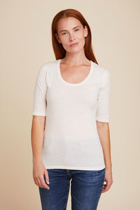 COTTON/CASHMERE ELBOW SLEEVE SCOOP NECK - MAJESTIC FILATURES