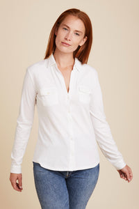 DELUXE COTTON L/S SHIRT WITH TWO POCKETS - MAJESTIC FILATURES