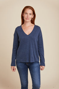 COTTON CASHMERE DOUBLE FACE L/S V-NECK - MAJESTIC FILATURES