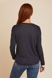 MODAL/CASHMERE DOUBLE LAYER L/S V-NECK - MAJESTIC FILATURES