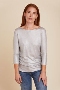 SOFT TOUCH METALLIC MINI RIB 3/4 SLEEVE BOATNECK - MAJESTIC FILATURES