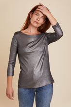 Load image into Gallery viewer, SOFT TOUCH METALLIC MINI RIB 3/4 SLEEVE BOATNECK - MAJESTIC FILATURES