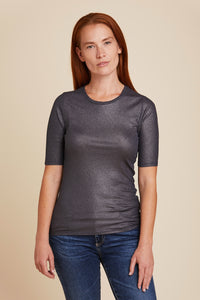 SOFT TOUCH METALLIC MINI RIB ELBOW SLEEVE CREW NECK - MAJESTIC FILATURES