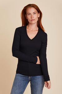 SOFT TOUCH STRIPED L/S VNECK - MAJESTIC FILATURES