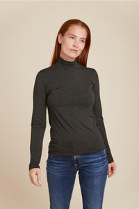 SOFT TOUCH STRIPED L/S MOCK NECK - MAJESTIC FILATURES