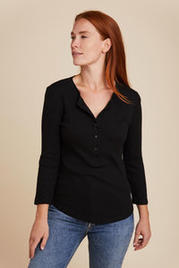 STRETCH CASHMERE RIB 3/4 SLEEVE HENLEY - MAJESTIC FILATURES