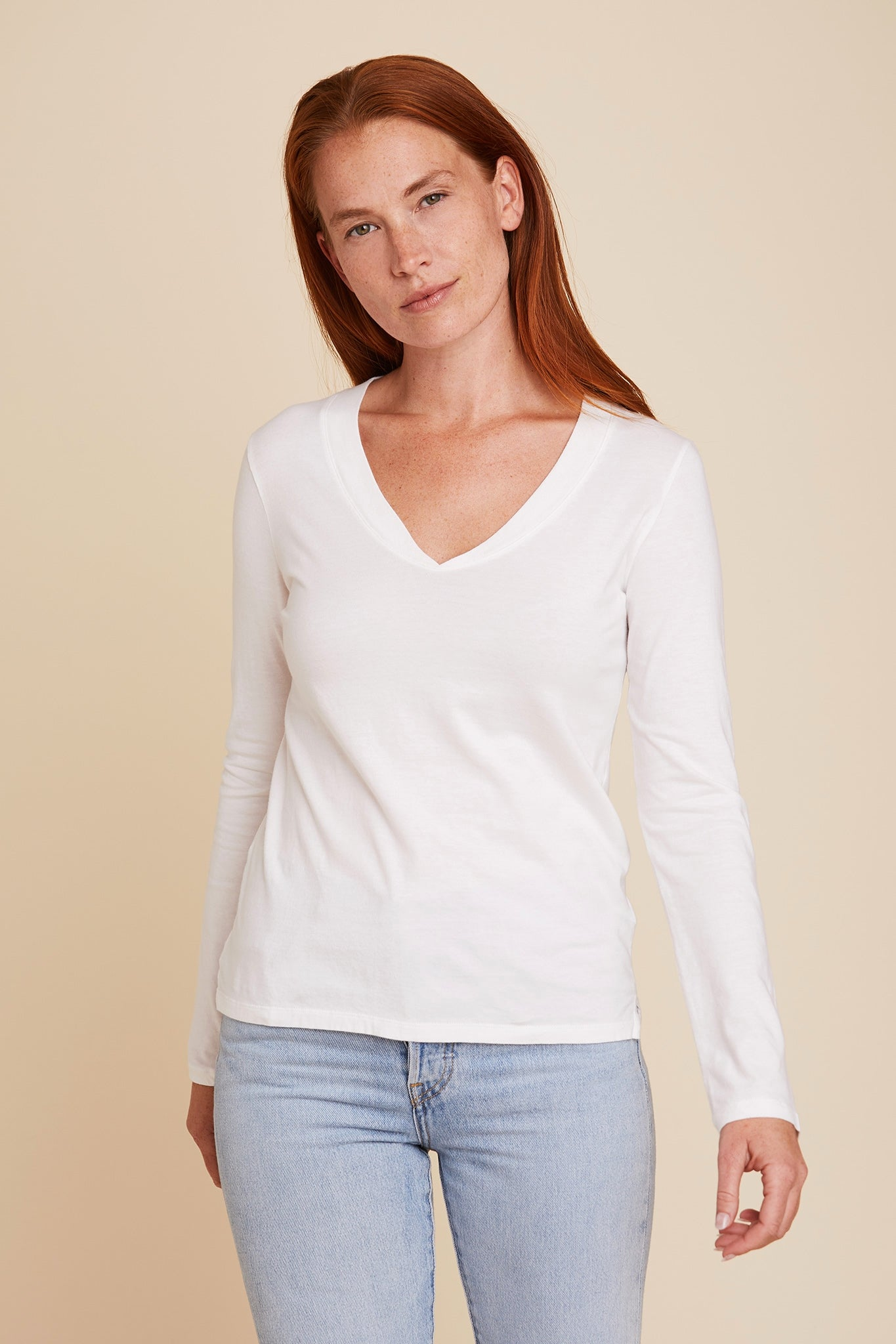 COTTON SILK TOUCH L/S SEMI RELAXED V-NECK - MAJESTIC FILATURES