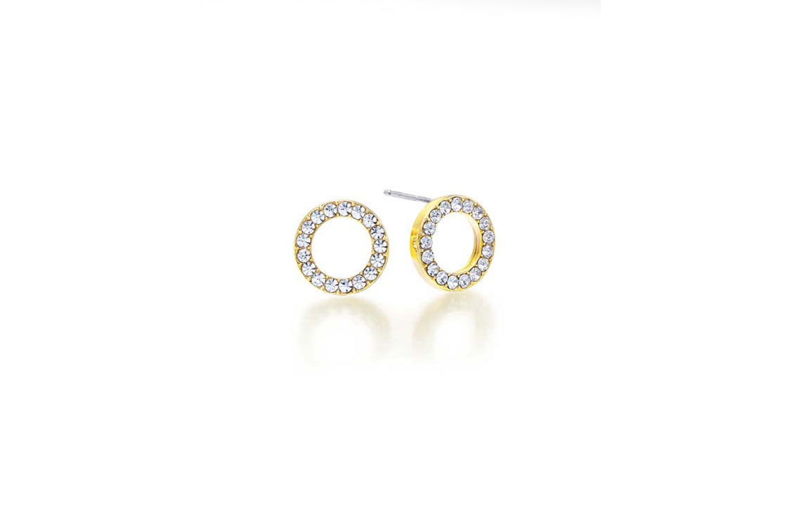 Kaytie Wu - Gold Circle Crystal Earrings