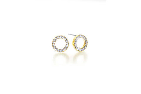 Kaytie Wu - Gold plated Circle Crystal Earrings