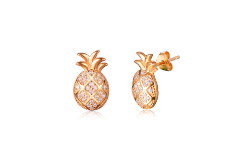 Kaytie Wu - Gold plated Pineapple Stud Earrings