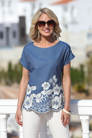 Pomodoro Border Embroidary Top