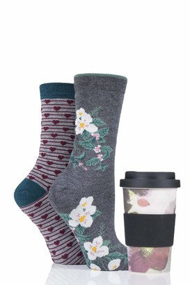 Thought - Floral Sock & Coffee Cup Gift Set