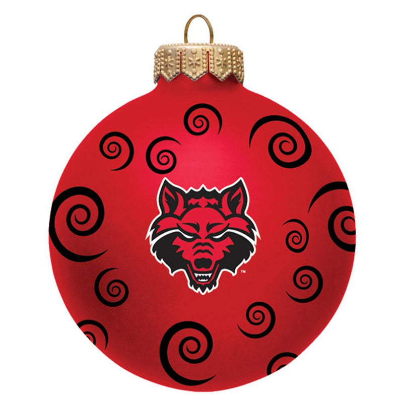 "3"" Team Swirl Ball Orn Arkansas St"