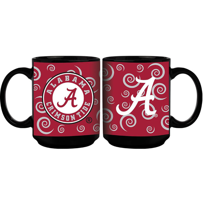15oz Swirl Design Black Mug | University of Alabama