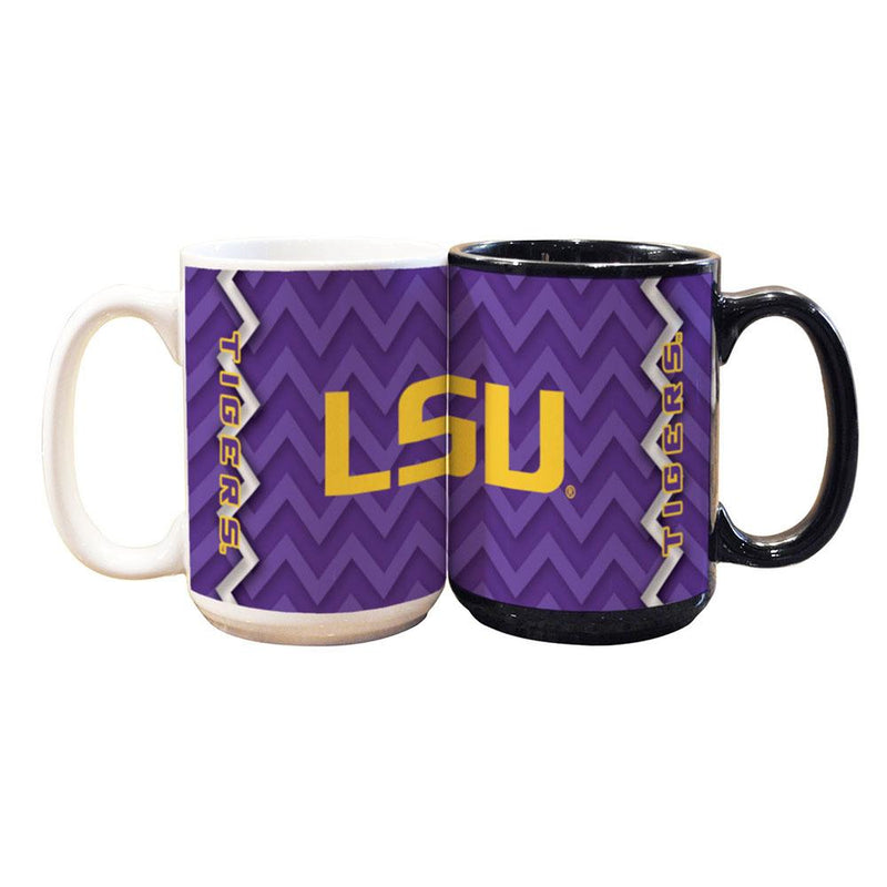 15oz Chevron Design Black Mug LSU