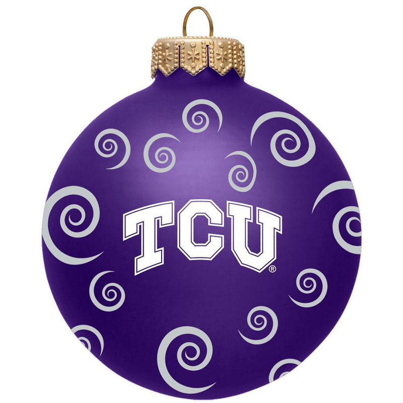 "3"" Team Swirl Ball Orn TCU"