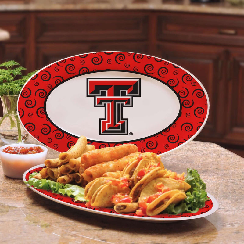 12in Swirl Platter Texas Tech