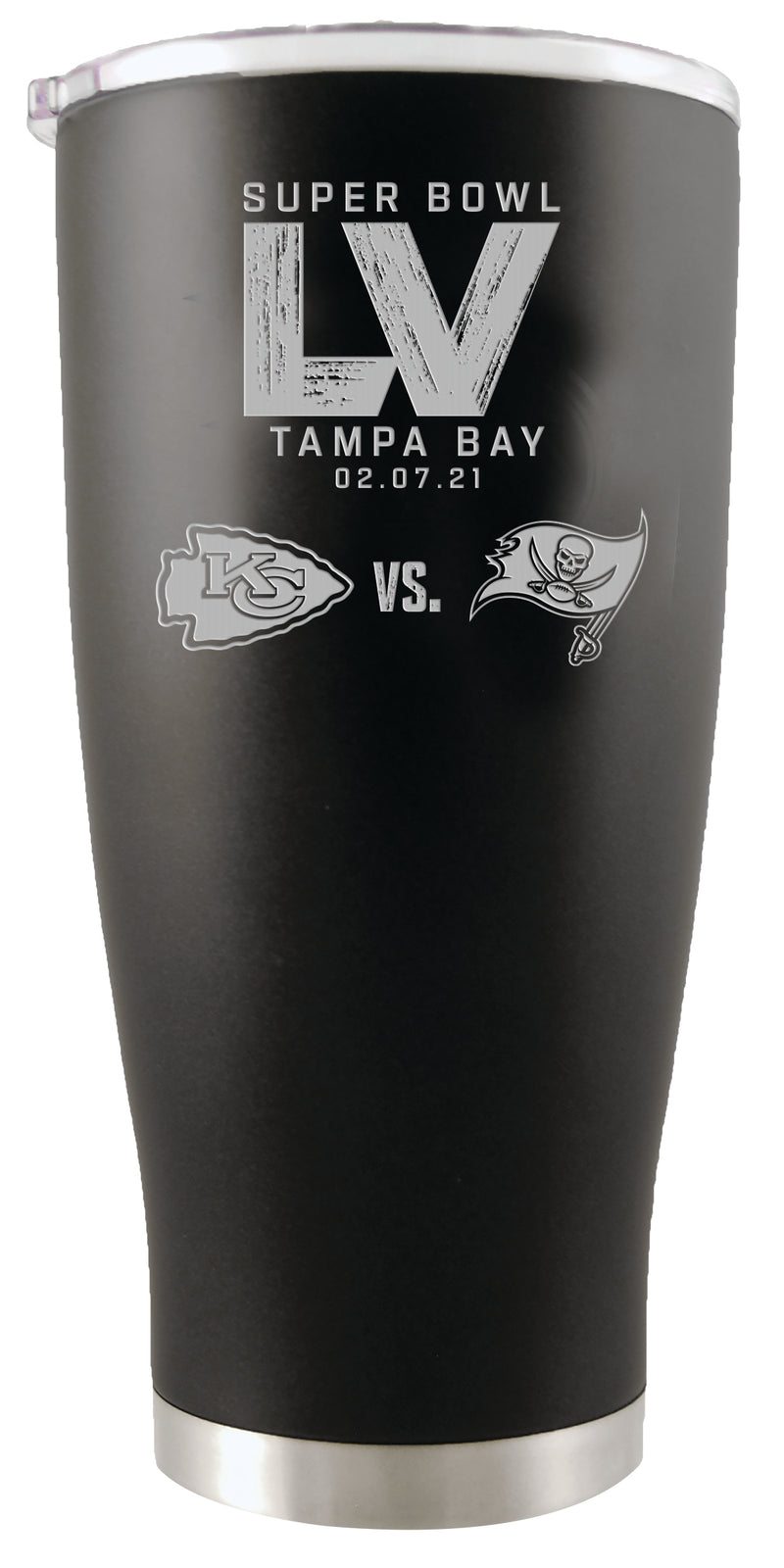 Super Bowl LV Dueling 20oz Black Stainless Steel Etched Tumbler