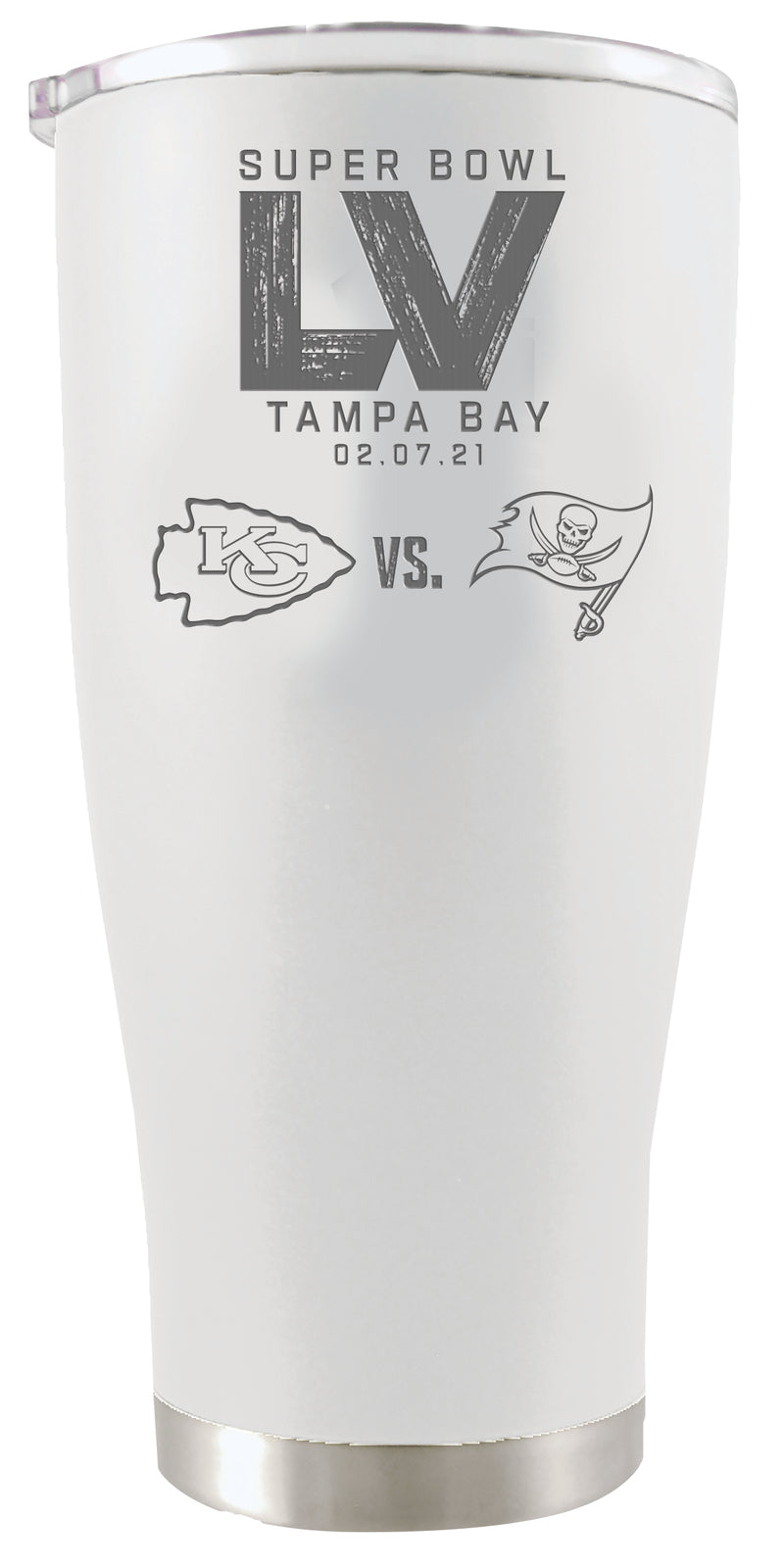 Super Bowl LV Dueling 20oz White Stainless Steel Etched Tumbler