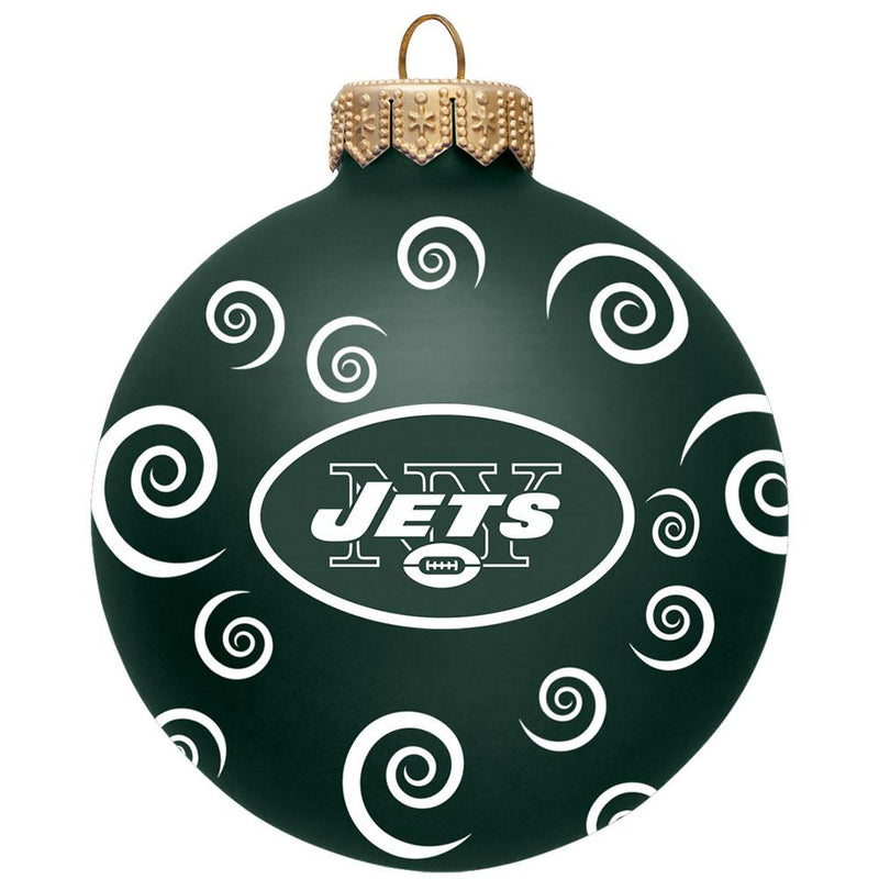 "3"" TEAM SWIRL BALL ORN Jets"