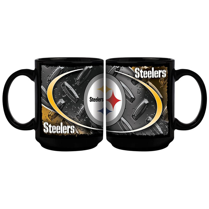 Diamond Plate 15oz Blk Mug  Steelers