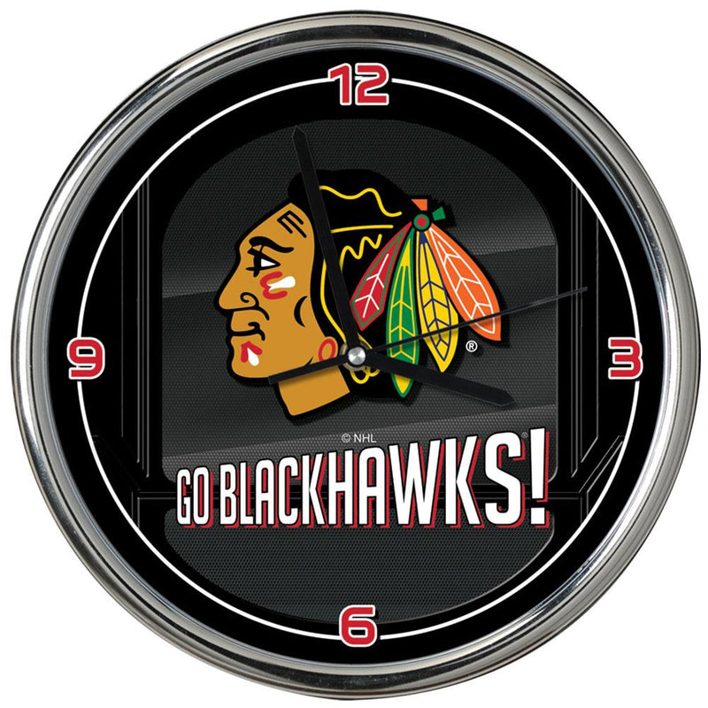 Go Team! Chrome Clock  Blackhawks