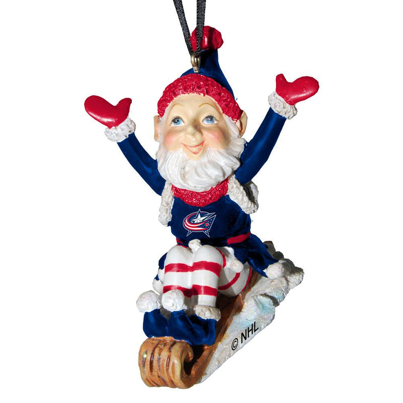 Elf On Sled Ornament | Columbus Blue Jackets