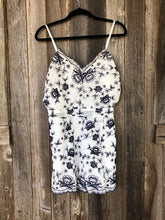 Load image into Gallery viewer, Navy & White Embroidered Romper