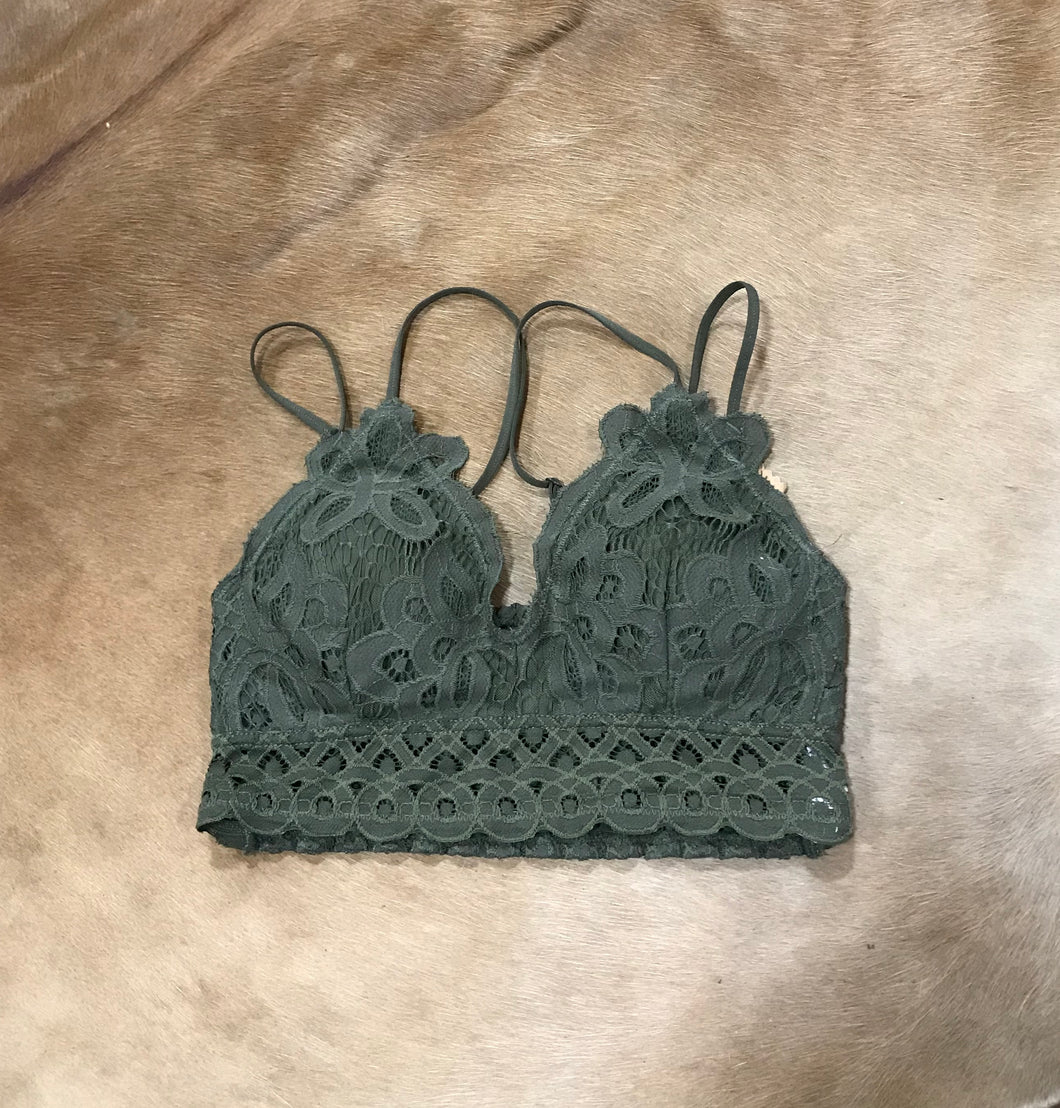 Olive Green Lace Bralette