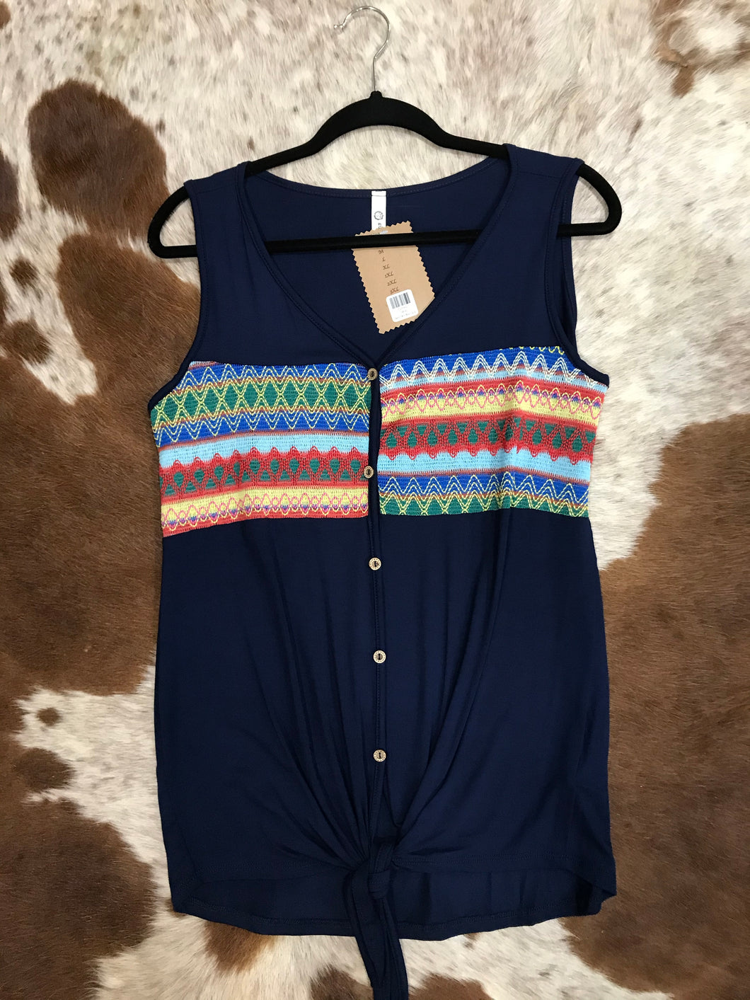 Navy Tribal Top with a Front Knot