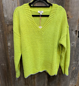 Lime Scalloped Sweater